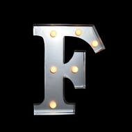 Marquee Light Letter 'F' LED Metal Sign (10 Inch, Battery Operated)