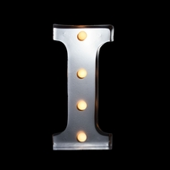 Marquee Light Letter 'I' LED Metal Sign (10 Inch, Battery Operated)