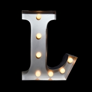 Marquee Light Letter 'L' LED Metal Sign (10 Inch, Battery Operated)