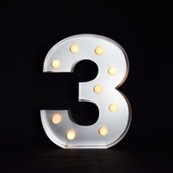 BLOWOUT Marquee Light Number '3' LED Metal Sign (10 Inch, Battery Operated)