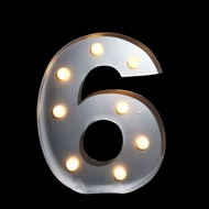 BLOWOUT Marquee Light Number '6' LED Metal Sign (10 Inch, Battery Operated)