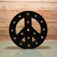 BLOWOUT Marquee Light Peace Symbol LED Metal Sign, Black (Battery Operated)