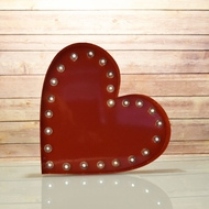 Marquee Light Red Heart Shape LED Metal Sign (Battery Operated)