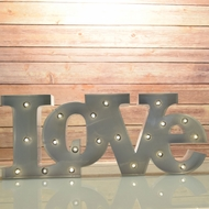 Marquee Light White 'LOVE' Word LED Metal Sign (Battery Operated)