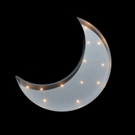 Marquee Light White Cresent Moon Shape LED Metal Sign (Battery Operated)