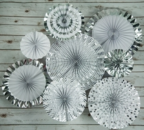 Metallic Silver Pinwheel Paper Flower Backdrop Party Wall Decoration Combo Kit