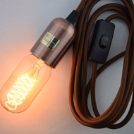 Modern Metal Copper Pendant Light Lamp Cord w/ Braided Cloth Cord, Switch, 11 FT