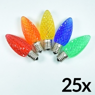 Replacement Multi-Color RGB 5 LED C9 Faceted Christmas Light Bulbs, E17 Base (25 PACK)