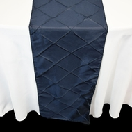 Navy Blue Pintuck Chameleon Table Runner - 12 x 108 Inch