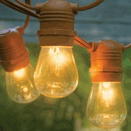 24 Socket Outdoor Commercial String Light Set, S14 Bulbs, 54 FT Brown Cord w/ E26 Medium Base, Weatherproof