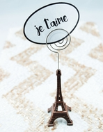 "Paris Eiffel Tower 5"" Name Card  / Photo Holder, Metal, Copper Bronze"