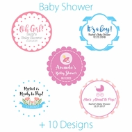 Personalized Baby Shower Mini Favor Circle Labels Stickers