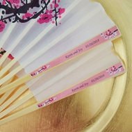 Personalized Cherry Blossom Hand Fans with Color Side Handle Labels for Wedding Party Favors