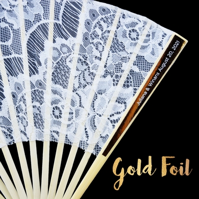 Personalized Gold Foil Label Lace Fabric Hand Fans - Metallic (10 Pack)