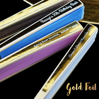 Personalized Gold Foil Label Wedding Silk Hand Fans - Metallic (10 Pack)