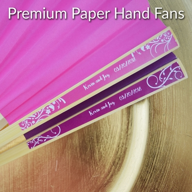 Personalized Premium Paper Hand Fans with Color Side Handle Labels for Wedding Party Favors