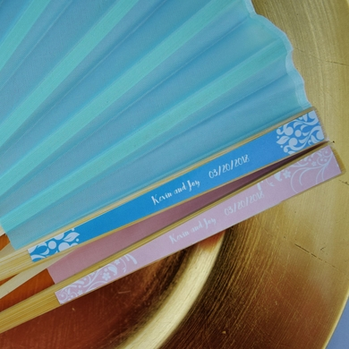 Personalized Silk Hand Fans with Color Side Handle Labels for Wedding Party Favors