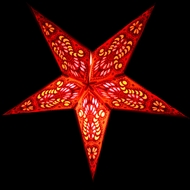 """24"""" Red Peacock Paper Star Lantern, Hanging (Light Not Included)"""