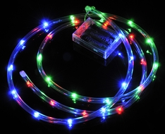 30 LED RGB Waterproof String Rope Light, 6 FT Clear Submersible Tube, Battery Operated