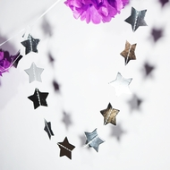 Silver Metallic Star Shaped Paper Garland Banner (8.5FT)
