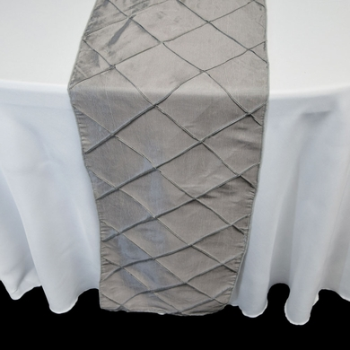 Silver Pintuck Chameleon Table Runner - 12 x 108 Inch