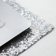 Silver Sequin Rectangular Table Placemat (12 x 17 Inches)