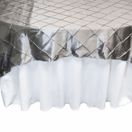 Silver Square Pintuck Chameleon Table Cloth Overlay Cover - 72 x 72 Inch