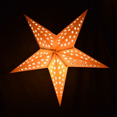 """24"""" Solid White Cut-Out Paper Star Lantern, Hanging (Light Not Included)"""