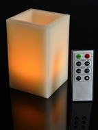 Square Pillar LED Candle - Amber Flame w/Remote Control
