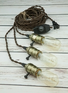 Triple Copper Socket Vintage-Style Pendant Light Cord w/ Dimmer, 17FT Twisted Brown Cloth Cord
