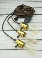 Triple Gold Socket Vintage-Style Pendant Light Cord w/ Dimmer, 17FT Twisted Brown Cloth Cord
