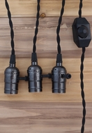 Triple Black Pearl Socket Vintage-Style Pendant Light Cord w/ Dimmer, 17 FT Twisted Black Cloth Cord