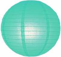 Water Blue Round Even Ribbing Paper Lanterns