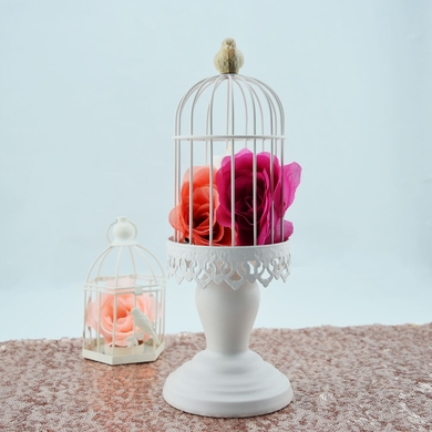 White Bird Cage Candle Tea Light Holder on Pedestal - 12 Inch