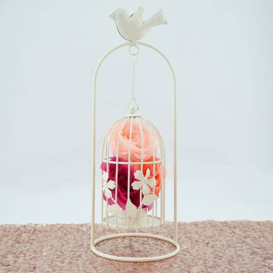 White Hanging Bird Cage Candle Tea Light Holder - 13 Inch