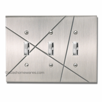 Modernist Triple Toggle Switch Plate