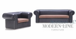 Liquidation! Black Leather with Tan Seating Fabric Modern Set of Sofa and Chair  (PICK UP ONLY)