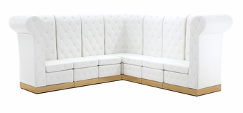 Button Tufted White with Custom Kick Panel - Arrangement G4
