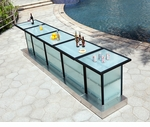 Custom All-Weather Collection Black Powder Coated Metal Frame Long Bar Table