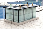 Custom All-Weather Collection Black Powder Coated Metal Frame Bar Table