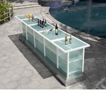 Custom All-Weather Collection White Powder Coated Metal Frame Bar Table with Frosted Tempered Glass Group 1