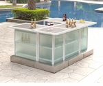 Custom All-Weather Collection White Powder Coated Frame Bar Table
