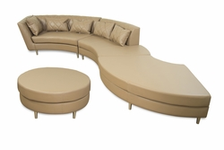 Liquidation! Deko Taupe Tufted Leatherette Sectional Sofa with Pillows and Round Ottoman