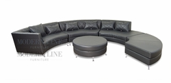 LAST ONE! Modern Luxurious Design Deko Charcoal Tufted Leatherette Sectional Sofa with Pillows and Round Ottoman