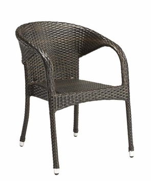 Stacking Commercial-Grade Outdoor Restaurant Chair with Arms (Espresso)