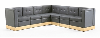 Tufted Black with Custom Kick Panel - Arrangement G7