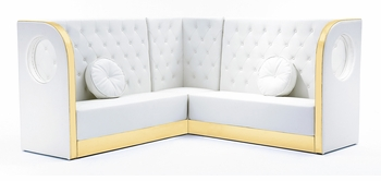 Tufted White Sectional Sofa with Custom Kick Panel - Seating Arrangement G4