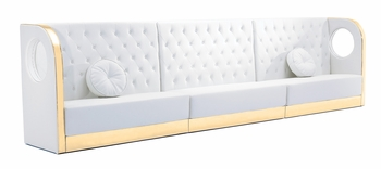 Tufted White Sectional Sofa with Custom Kick Panel - Seating Arrangement G5