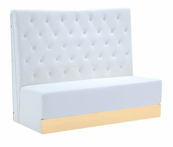 Tufted White Tall Booth with Custom Kick Panel