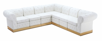Tufted White with Custom Kick Panel - Arrangement G4